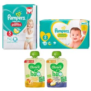 Pampers baby dry pants, new baby, Olvarit bio fruit knijpzakje of Sore maisfingers