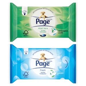 Page vochtig toiletpapier