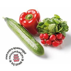 komkommer, rode paprika of radijs
