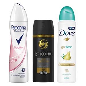 Axe, Dove of Rexona deodorant