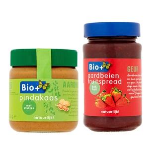 Bio+ pindakaas, appelstroop of jam