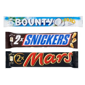 Mars, Snickers, Twix of Bounty