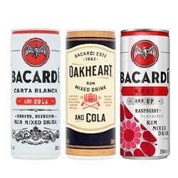 Bacardi rum & cola, spiced & cola of razz & up