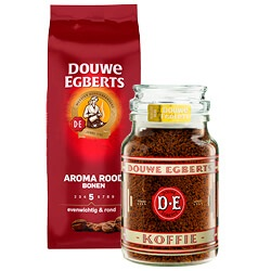 Douwe Egberts Aroma Rood snelfilter, bonen, pads of oploskoffie