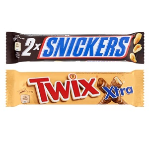 Mars, Snickers, Twix & M&M's Candybars Kingsize