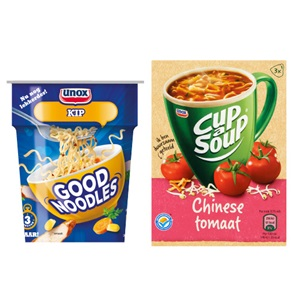 Knorr snackpot, Unox Cup-a-Soup of noodles