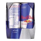 Red Bull Energiedrank Regular 4X25CL achterkant