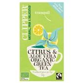 Clipper green citrus aloë vera  tea voorkant