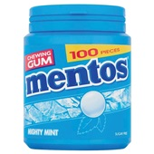 Mentos Kauwgom Gum Mighty Mint, Pot 100 Gums voorkant