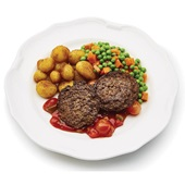 Culivers (15) lamsburgers met barbecuesaus, doperwtjes, worteltjes en gebakken krieltjes  voorkant