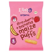Ella's Kitchen kindersnack strawberry & banana maize puffs voorkant