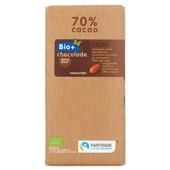 Bio+ Fair Trade chocolade reep  puur voorkant