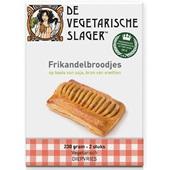 Vegetarische slager frikandelbroodjes vegetarisch voorkant