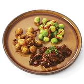Culivers hazenpeper, spruitjes met spek en aardappeltjes in de schil  voorkant