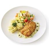 Culivers lekkerbekje met ravigotesaus, fijne groenten en aardappelpuree  voorkant