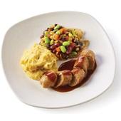 Culivers vegetarische worst, Mexicaanse bonenschotel en zoete aardappelpuree  voorkant