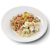 Culivers (94) zalm en kabeljauw in mosterdsaus, groentemix en volkoren spaghetti  zoutarm voorkant