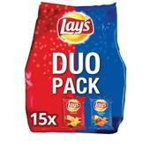 Lay's Chips 15 Duopack Naturel/Paprika voorkant