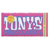 Tony's chocolonely tablet wit framboos knettersuiker voorkant