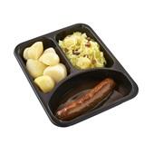 Culivers (7) rundersaucijs met jus, zomerse zuurkool met ananas en rozijn en gekookte aardappelen achterkant