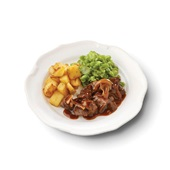Culivers (11) Limburgs zuurvlees met snijbonen en gebakken aardappeltjes voorkant