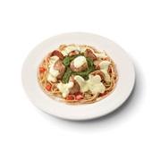 Culivers (44) varkenshaasstukjes in bearnaisesaus, spinazie à la crème en volkoren spaghetti voorkant