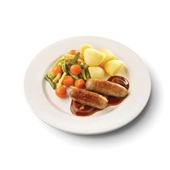 Culivers (49) varkenssaucijs in uienjus met groentemix en gekookte aardappelen voorkant