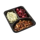 Culivers (68) hachee van paddenstoelen, rode bietjes met zilveruitjes en aardappelpuree met tuinkruiden achterkant