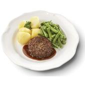 Culivers (69) rundertaartje met jus. Sperziebonen en gekookte aardappelen zoutarm  voorkant