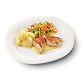 Culivers (99) kalkoenmedaillons met kerriesaus, Mexicaanse mix met gekookte aardappelen zoutarm voorkant