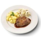 Culivers (93) halskarbonade in jus met gekookte krieltjes en witlof met bacon zoutarm voorkant
