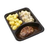 Culivers (93) halskarbonade in jus met gekookte krieltjes en witlof met bacon zoutarm achterkant