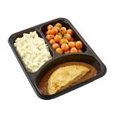 Culivers (129) omelet champignon in provencaalse saus, parijse worteltjes en aardappelpuree zoutarm achterkant