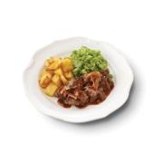 Culivers (3) Limburgs zuurvlees met snijbonen en gebakken aardappeltjes gluten- en lactosevrij voorkant