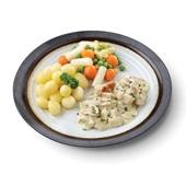 Culivers (2) vol au vent, asperge-groentemix met gekookte krieltjes voorkant