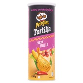 Pringles tortilla chips spicy chili voorkant