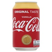 Coca Cola vanille blik 33 cl voorkant