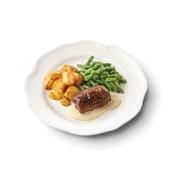 Culivers (8) rundervink met mosterdsaus, sperziebonen en gebakken aardappelblokjes voorkant