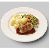 Culivers (34) slavink met jus, gekookte aardappelen en doperwtjes en worteltjes  voorkant