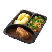 Culivers (51) slavink met jus, doperwtjes en worteltjes en gekookte aardappelen achterkant