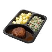 Culivers (37) gehaktballetjes met jus, kapucijners à la crème met bacon en mini krieltjes met tuinkruiden achterkant