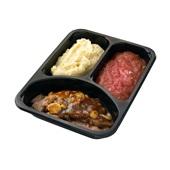 Culivers (110) Hollands pannetje van varkensvlees met rabarbercompote en aardappelpuree zoutarm achterkant
