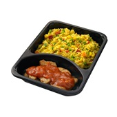 Culivers (63) vegetarische grillstukjes met pomodorisaus en Italiaanse rijstschotel achterkant