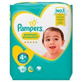 Pampers premium protection luiers maxi 4+ carry pack voorkant