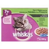 Whiskas senior kattenvoer vlees en vis selectie in saus voorkant