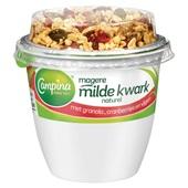 Campina magere kwark naturel granola cranberrie voorkant