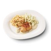 Culivers (31) kipfilet in champignonsaus, schorseneren met tijm en zoete aardappelpuree voorkant
