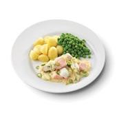 Culivers (119) nieuwpoorts visserspannetje, tuinerwten en gekookte krieltjes zoutarm voorkant