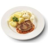 Culivers (10) hamplapje in stroganoffsaus met bloemkool à la crème en gekookte aardappelen gluten- en lactosevrij voorkant