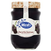Hero zwarte kersen jam voorkant